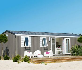 Vue exterieur mobil home luxe 8 pers